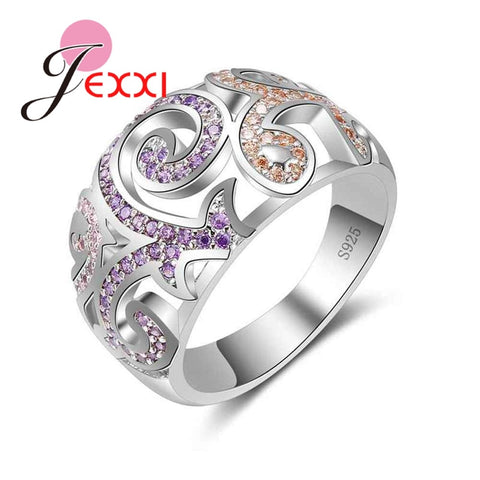 925 Sterling Silver Ring With Pink & Purple Crystals