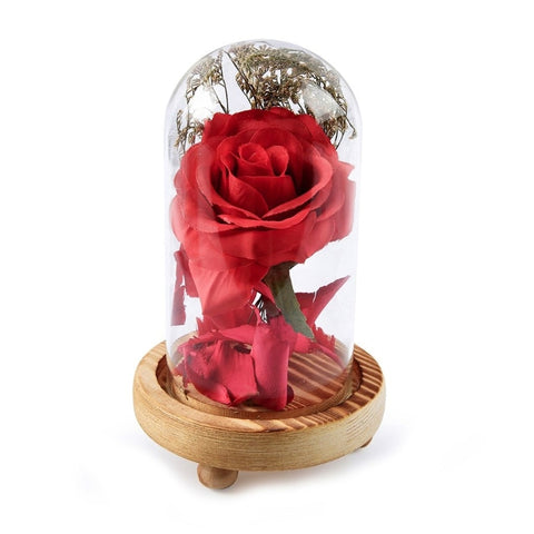 Red Rose In Glass Dome On Wooden Base
