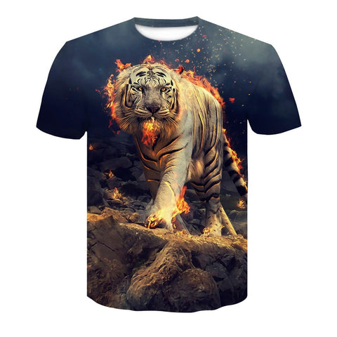 3D Flaming Tiger T-Shirt
