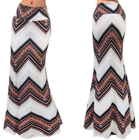 Chevron Pattern Maxi Skirt In 2 Designs