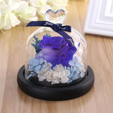 Artificial Rose In Clear Glass Dome