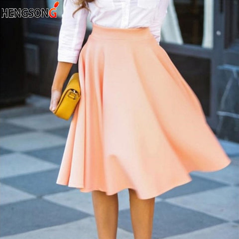 Slim Pleated Knee Length Skirt