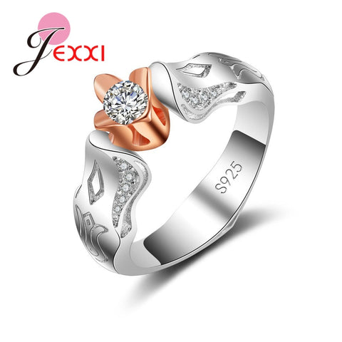 925 Sterling Silver Flower Shape ring With Clear CZ