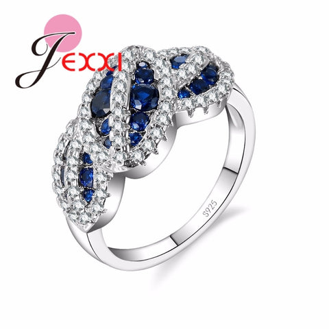 925 Sterling Silver Ring With Blue & White Crystals