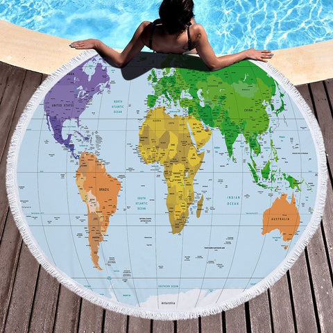 World Map Printed Large Round Beach Towel In 6 Designs