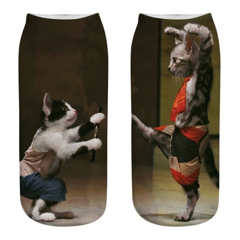 Karate Kitty 3D Printed Socks