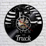Born To Truck Vinyl Record Wall Clock In 2 Designs