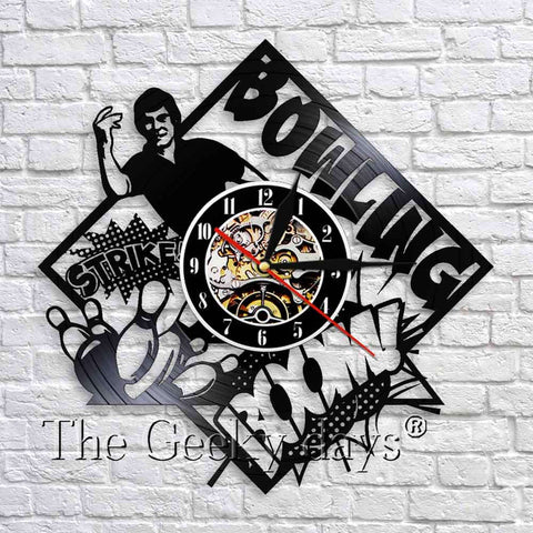 Bowling Club Vinyl Record Wall Clock In 2 Designs