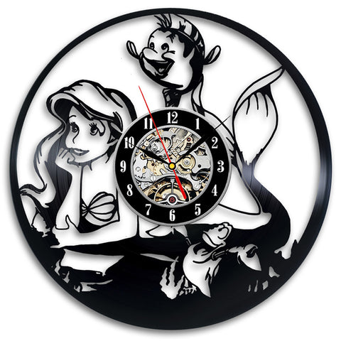 Little Mermaid Vinyl Record Clock