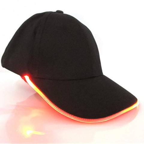 Black Baseball Cap With LED Lights On Bill