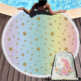 Unicorn Faces Round Beach Towel With Travel Bag In 10 Designs