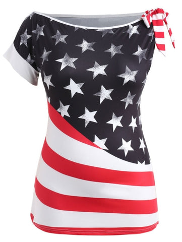 American Flag Pattern Skew Collar Short Sleeve T-Shirt