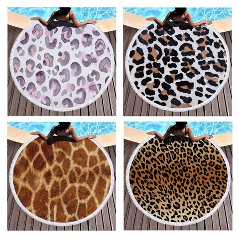 Large Round Leopard 3D Print Beach Towel In 15 Designs
