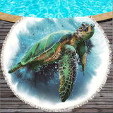 Sea Life Round Beach Towel With Tassels