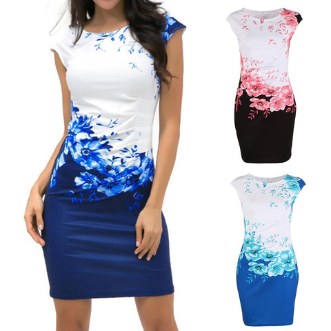 Floral Pattern Body-con Cap Sleeve Dress