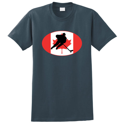 Canada Flag With Hockey Player T-Shirt