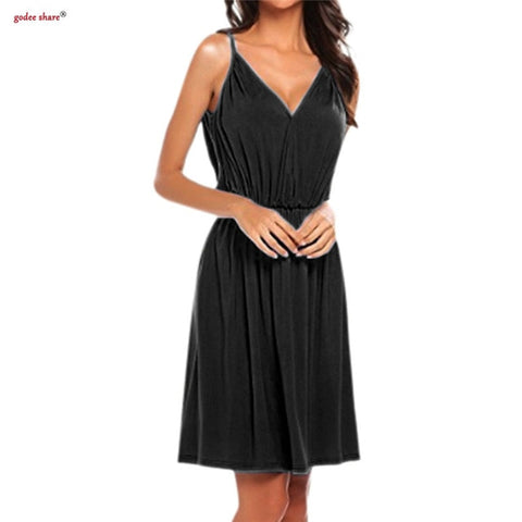 Sleeveless V Neck Sling Dress