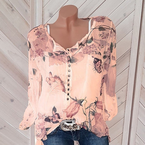 Floral Print Casual Button Chiffon Long Sleeve Blouse