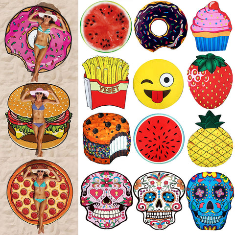 Round Beach Towel In 13 Assorted Designs