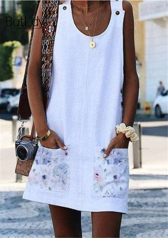 Sleeveless Jumper Mini Dress With Floral Pockets