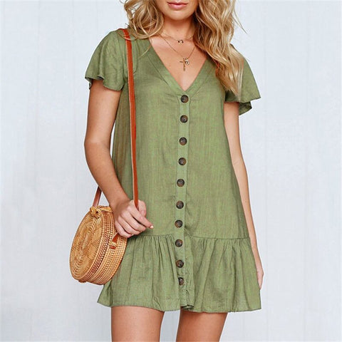 Boho Button Mini Dress