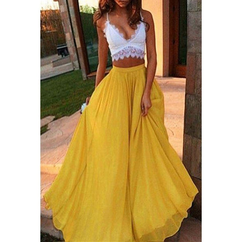 Elastic High Waist Tulle Long Skirt