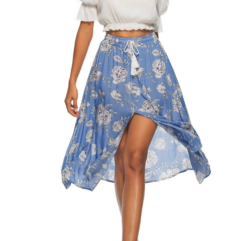 Floral Printed Casual Lace Up Skirt