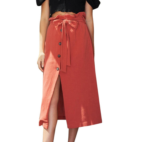 Casual High Waist Button And Belt Wrap Skirt