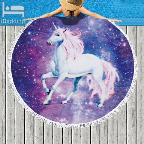 Unicorn Printed Round Beach Towel In 3 Designs