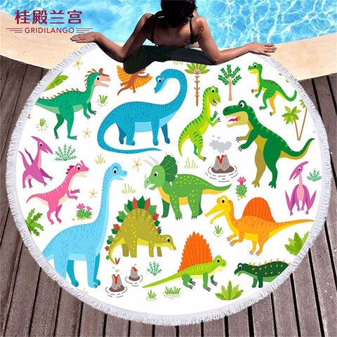 Children's Cartoon Printed Round Beach Towel In 9 Designs