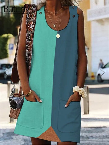 Color Block Patchwork Sleeveless Tank Mini Dress