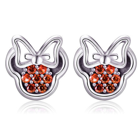 Mickey Or Minnie Mouse Stud Earring In 4 Designs