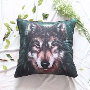 3D Oil Painting Wolf Cushion Cover