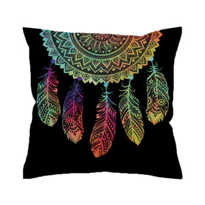 Dreamcatcher Cushion Cover Colorful Feathers