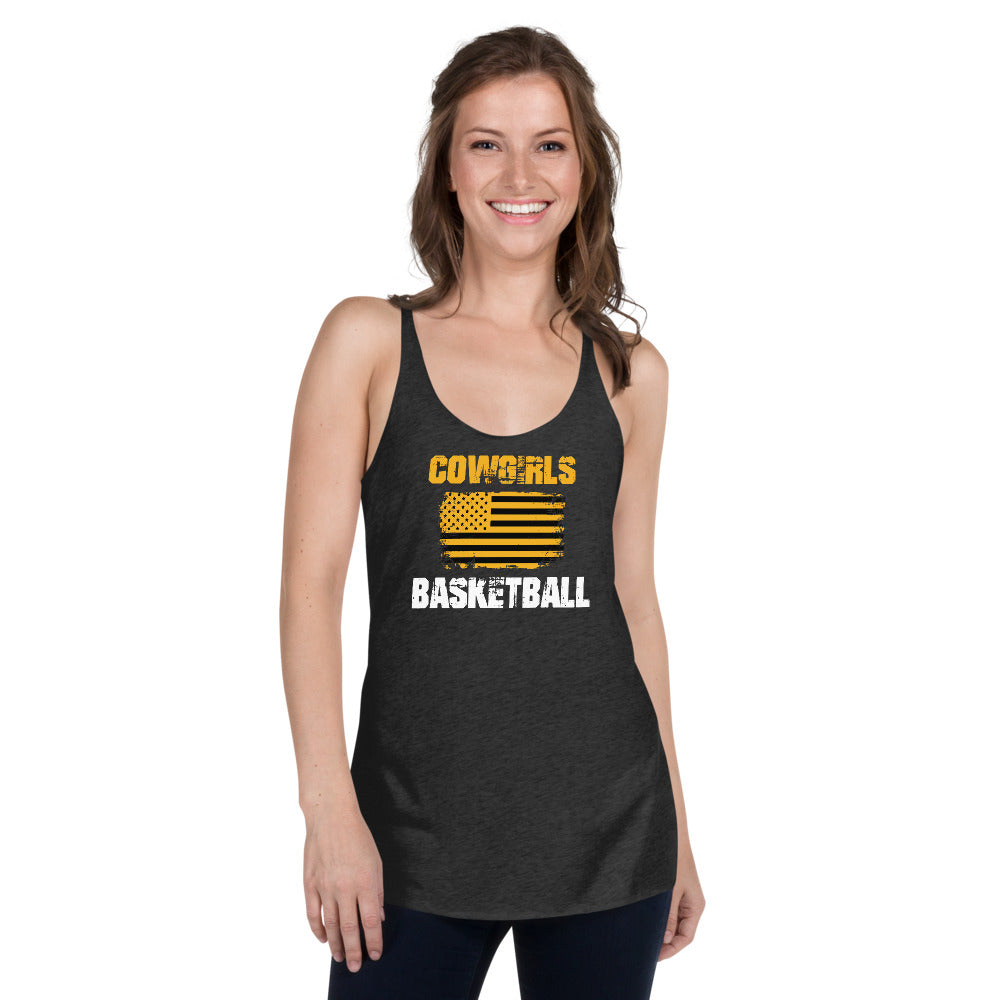 GHS Cowgirls Basketball with American Flag Racerback Tank