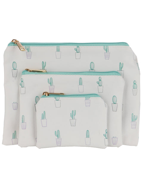 CACTUS PRINT 3 PIECE VINYL COSMETIC BAG SET