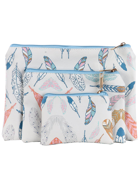 FEATHER PRINT 3 PIECE VINYL COSMETIC BAG SET
