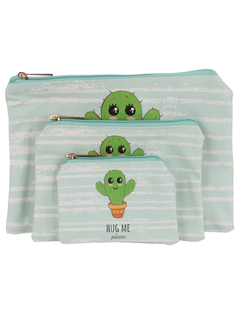 """HUG ME PLEASE"" CACTUS PRINT 3 PIECE COSMETIC BAG SET"