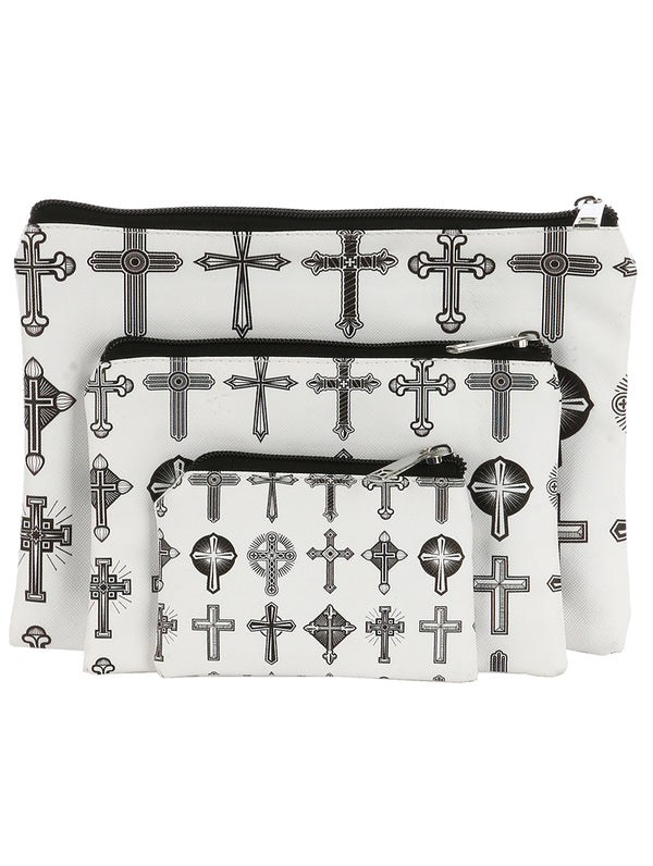 CROSS PRINT 3 PIECE COSMETIC BAG SET