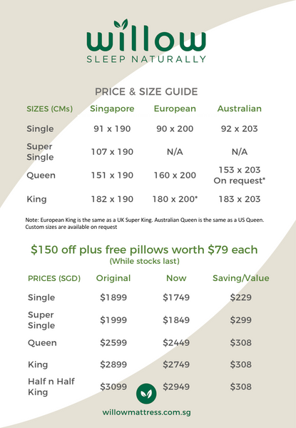 Willow Mattress Size and Price List