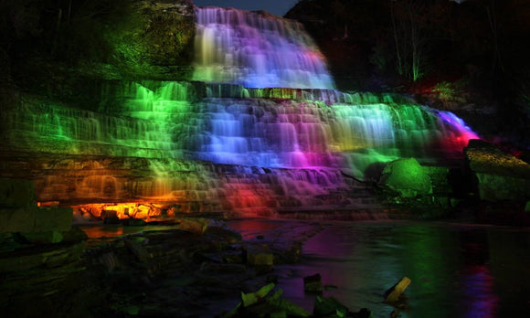 Lighted Waterfalls