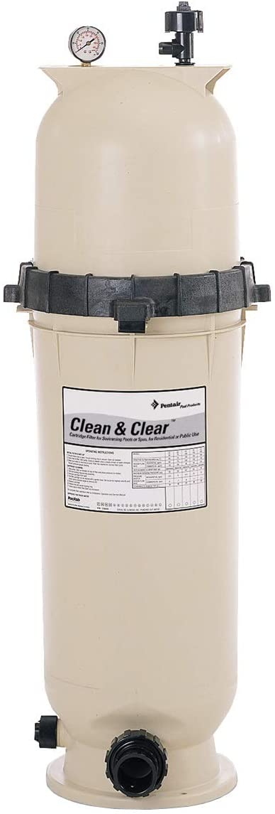 Pentair 160315 Clean & Clear Fiberglass Reinforced Polypropylene Tank Cartridge Pool Filter, 75 Square Feet, 75 GPM