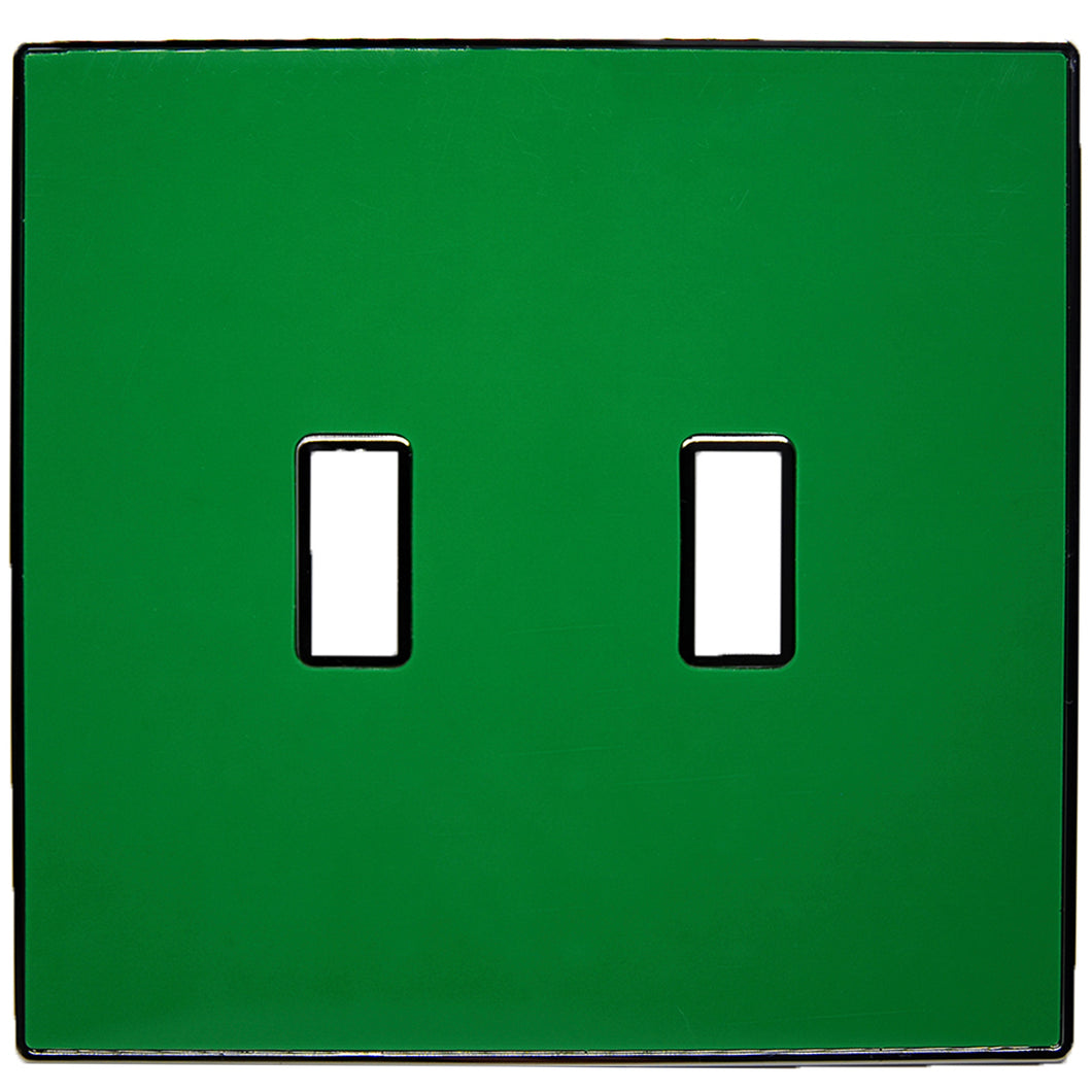 UC08 Pea Green/ 2-Gang Toggle Cover & Chrome Frame