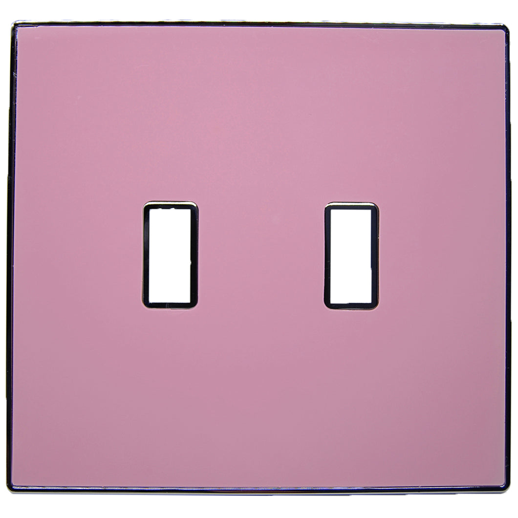 UC10 Light Pink/ 2-Gang Toggle Cover & Chrome Frame