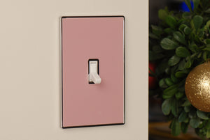 UC10 Light Pink/ 1-Gang Toggle Cover & Chrome Frame
