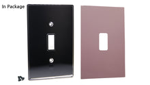 UC17 Mauve/ 1-Gang Toggle Cover & Chrome Frame