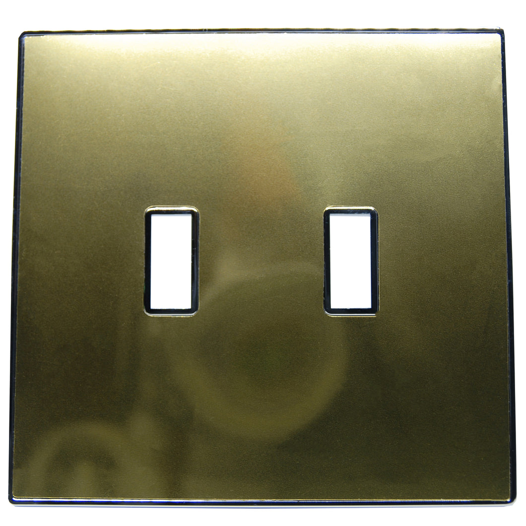 UC25 Gold/ 2-Gang Toggle Cover & Chrome Frame