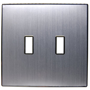UC27 Brushed Silver(Vertical)/ 2-Gang Toggle Cover & Chrome Frame
