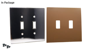 UC03 Dark Roast/ 2-Gang Toggle Cover & Chrome Frame