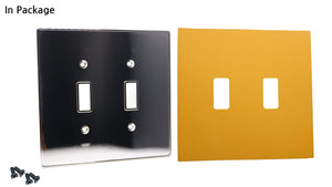 UC06 Mustard/ 2-Gang Toggle Cover & Chrome Frame